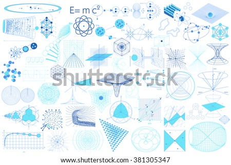 Science elements, symbols and schemes of physics, chemistry and sacred geometry - stock vector