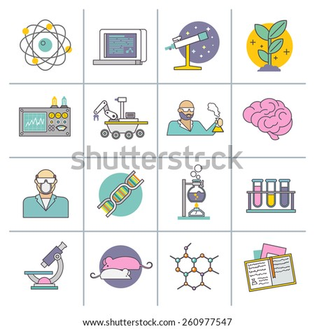 Science experiment and research equipment flat line icons set isolated vector illustration - stock vector
