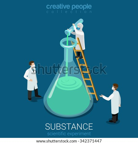 Science experiment new substance discovery flat 3d isometry isometric chemical concept web infographics vector illustration. Micro lab workers pouring huge flask. Creative people collection. - stock vector