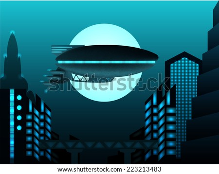 Science fiction illustration. Zeppelin in front of urban landscape - stock vector