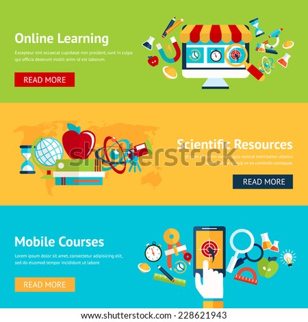 Science flat banner set with online learning scientific resources mobile courses isolated vector illustration - stock vector