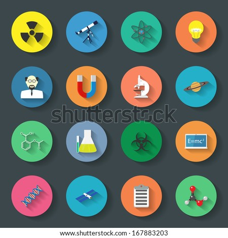 Science flat icons set - stock vector