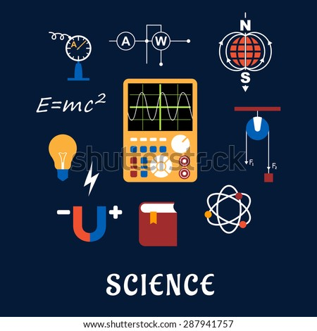 Science flat icons set with symbols of physics such as magnet, electric power, atom model, Earth magnetic field, book, formulas, schemes and tools. For education or scientifical concept design - stock vector