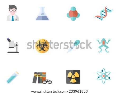 Science icons in flat colors style. - stock vector