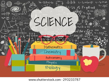SCIENCE in speech bubbles above science books, pens box,apple and mug with science doodles on chalkboard background. - stock vector