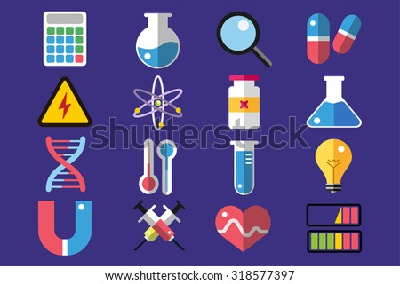 Science lab icons isolated. Science vector icons set. Education, laboratory icon, lab icons, science icons, microscope. Molecular symbols, atom, planet, chemistry vector icons. Technology vector icons - stock vector