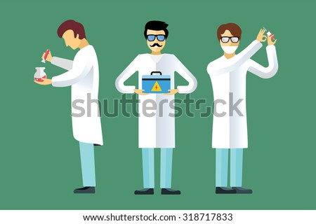Science laboratory vector people. People in laboratory isolated silhouette. Chemist, Medical Doctor, Scientist laboratory, science, research, biologist, nuclear, radioactivity, radiation waste. - stock vector