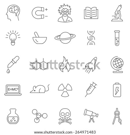 Science line icons set.Vector - stock vector