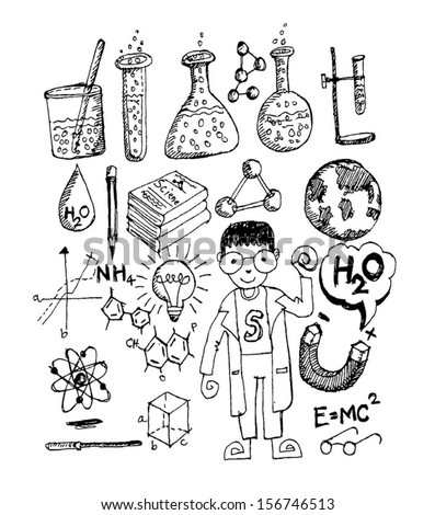 science object in doodle style design - stock vector