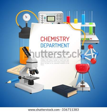 Science realistic background with chemistry lab equipment set vector illustration - stock vector