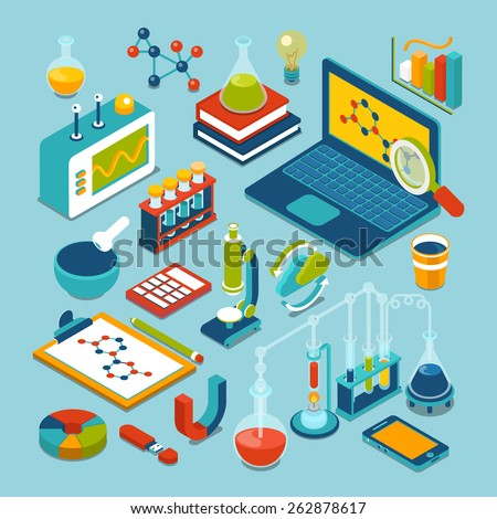 Science research lab technology objects icon set flat 3d isometric modern design template. Laptop flask microscope bulb pounder chemical formula calculator oscilloscope process reacion collection - stock vector