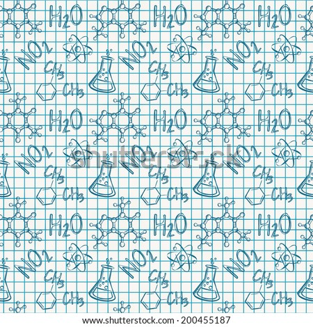 Science seamless pattern. Chemical drawings in a school notebook. Vector illustration. - stock vector
