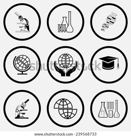 Science set. Black and white set vector icons. - stock vector