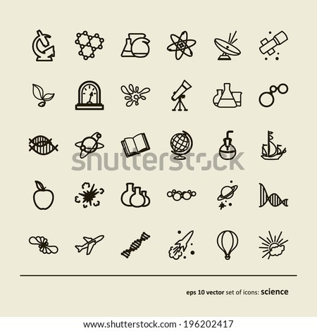 Science. Set of abstract pictures. A vector. - stock vector