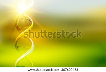 Science template for your card, green wallpaper or banner with a DNA molecules of polygons. Wire-frame mesh polygonal element. Glow light futuristic background.  Vector illustration. - stock vector
