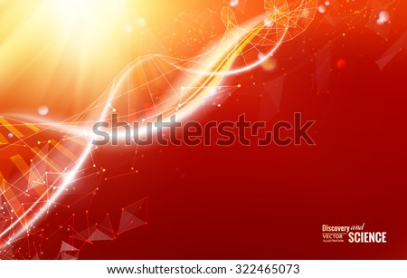 Science template for your card, red wallpaper or banner with a DNA molecules of polygons. Wireframe mesh polygonal element. Glow light futuristic background.  Vector illustration. - stock vector