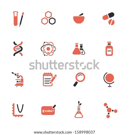 Science theme icons - stock vector
