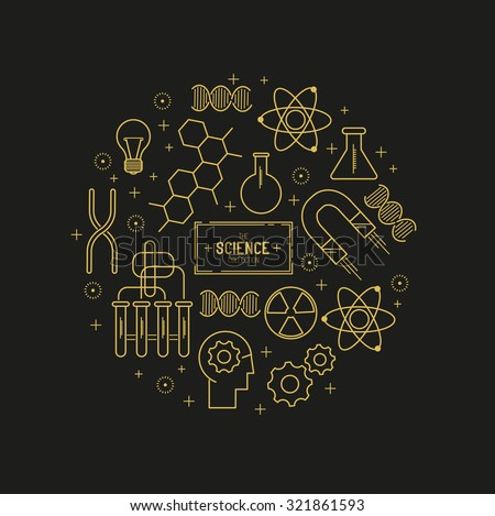 Science Vector Icon Set. A collection of gold science themed line icons including a atom, chemistry symbols and equipment. Layered Vector illustration. - stock vector