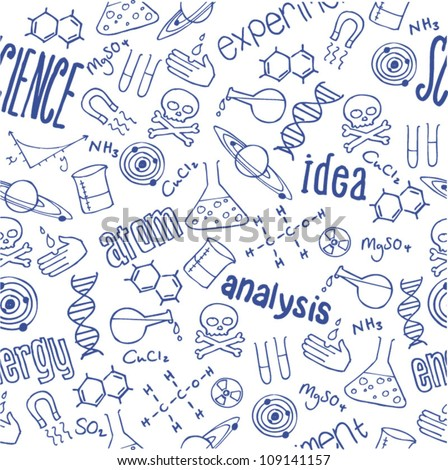 Science words and doodles seamless vector - stock vector
