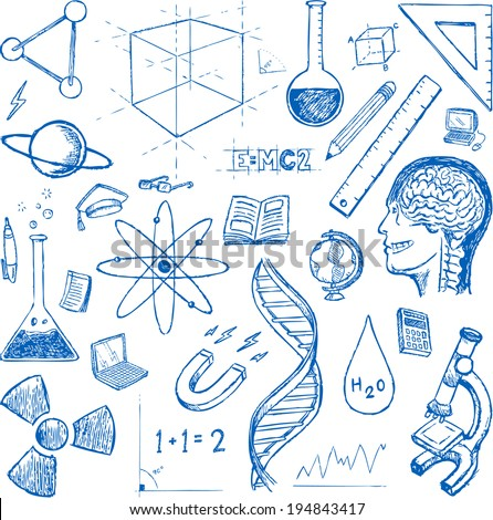 Sciences doodles icons vector set - stock vector