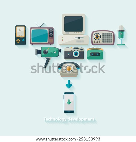 Scientific and technical progress. Flat design. - stock vector