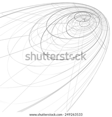 Scientific and technology monochrome stylish background, abstract dimensional figure with lines mesh. 3d graphic spatial complicated backdrop, design project. - stock vector