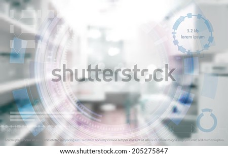 Scientific background: modern laboratory interior out of focus with graphic elements on the topic of molecular cloning - stock vector