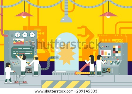 scientific laboratory experiments experience scientists work in front of control panel analysis production development study business flat design concept illustration - stock vector