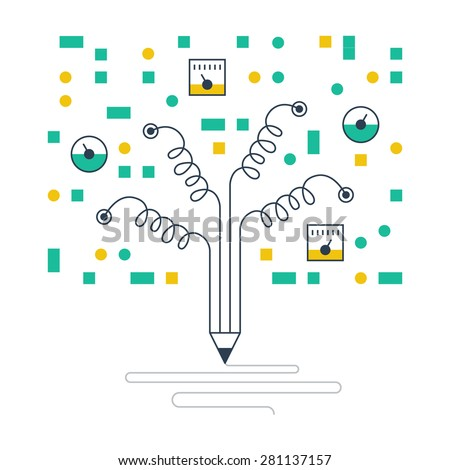 Scientific research. Data gathering. Fiction writing. School science laboratory. - stock vector
