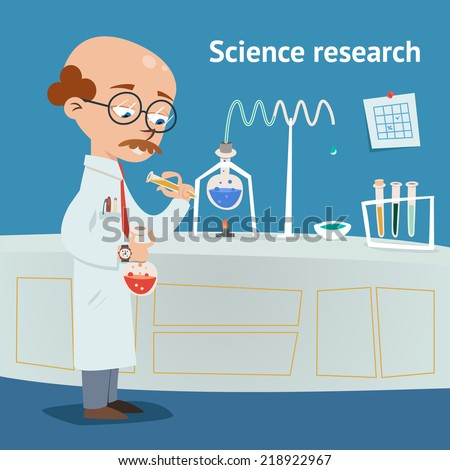 Scientist doing research in a chemical laboratory with various experiments underway as he pours a solution from a test tube into a beaker  vector illustration - stock vector