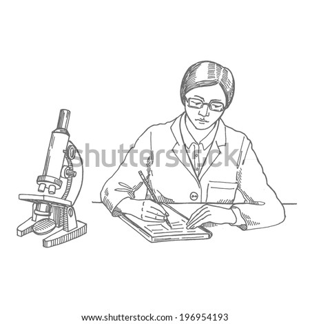 scientist, girl writes experiment, vector hand drawing - stock vector