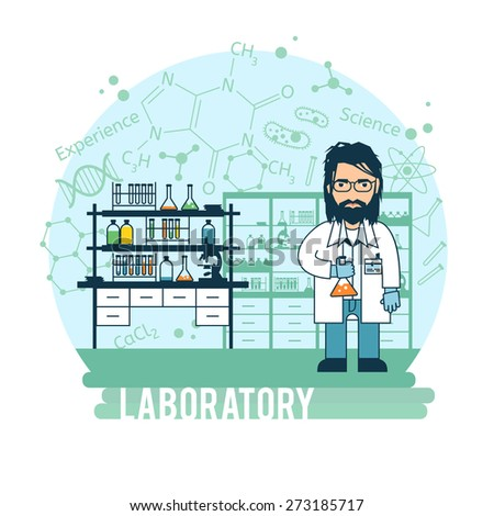 Scientist in laboratory experiments were conducted. Bearded scientist is experimenting. - stock vector