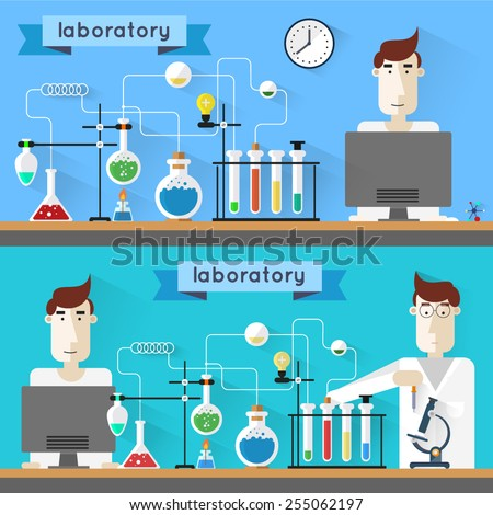 Scientist in laboratory. Laboratory workspace and workplace concept.  Flat design style modern vector illustration icons set of science and technology development. Science and Education. Flat design.  - stock vector