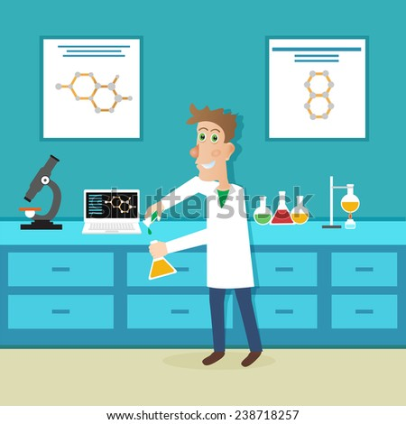 Scientist in science education - stock vector