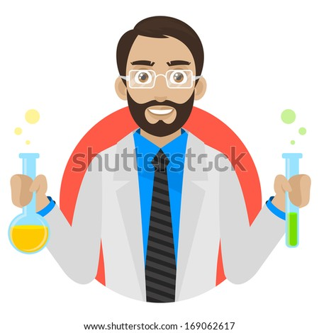 Scientist keeps test tubes in circle - stock vector