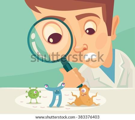Scientist looking through magnifier. Vector flat illustration - stock vector