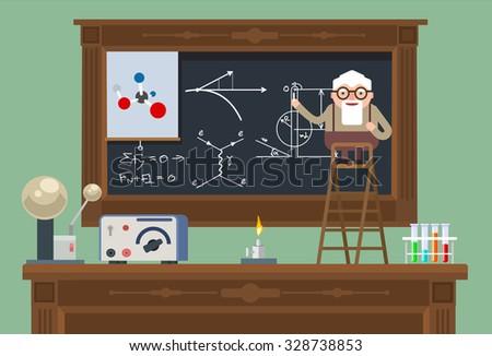 Scientist old professor. Vector flat illustration - stock vector