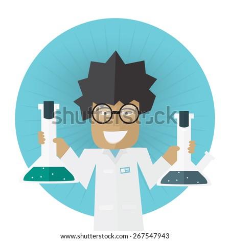 Scientist or doctor holding flask in hands Vector illustration Laboratory research concept - stock vector