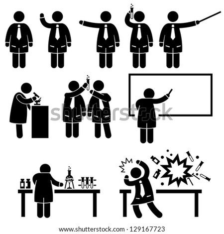 Scientist Professor Science Lab Teaching Writing Experiment Research Stick Figure Pictogram Icon - stock vector