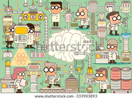 Scientist team in chemistry education research laboratory equipment, Vector illustration - stock vector