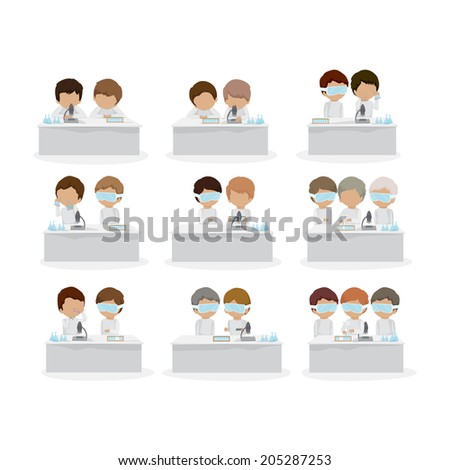 Scientist Working At The Laboratory Set - Isolated On White Background - Vector Illustration, Graphic Design Editable For Your Design - stock vector