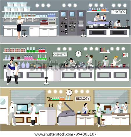 Scientist working in laboratory vector illustration. Science lab interior. Biology, Physics and Chemistry education concept. Male and female engineers making research and experiments. - stock vector