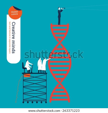 Scientists analyzing the dna code and businessman with spyglass. Vector illustration Eps10 file. Global colors. Text and Texture in separate layers. - stock vector