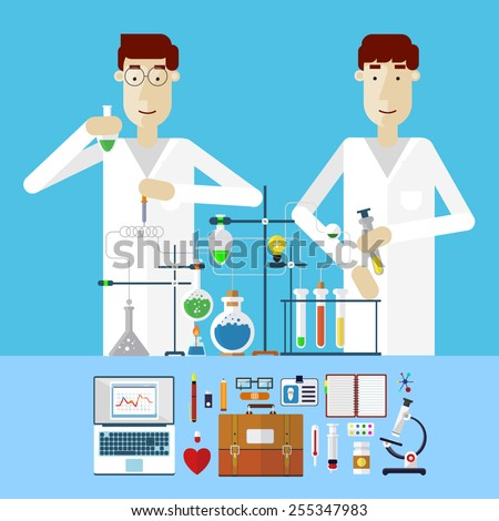 Scientists at work. Laboratory workplace concept. Science and technology development vector illustration. Chemistry, physics, biology info-graphic in flat style. - stock vector