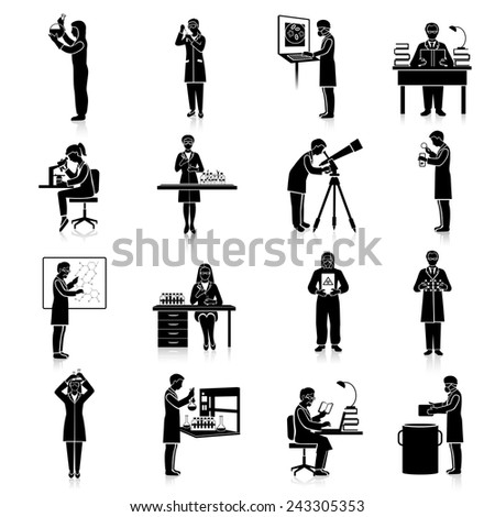 Scientists doctors and teacher characters making scientific experiments black set isolated vector illustration - stock vector