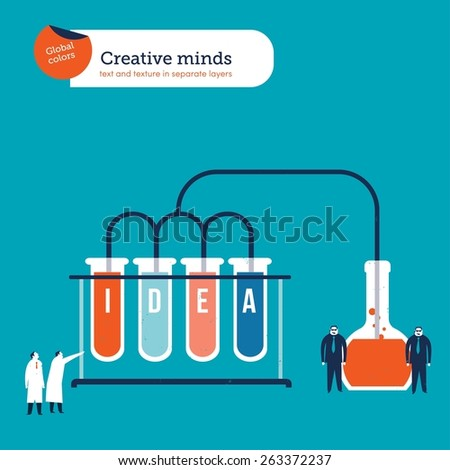 Scientistscreatingaformulatomakeideashappen. Vector illustration Eps10 file. Global colors. Text and Texture in separate layers. - stock vector