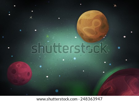 Scifi Space Background For Ui Game/ Illustration of a beautiful comic starry space landscape with alien moons, asteroids and  planet for scifi ui game - stock vector