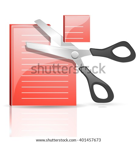 scissor and note, business concept. cut the note vector - stock vector