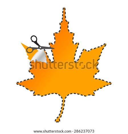 scissors cut sticker autumn leaf - stock vector