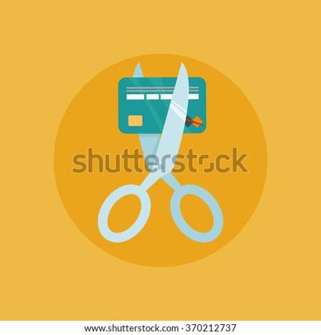 Scissors cutting credit card vector illustration - stock vector